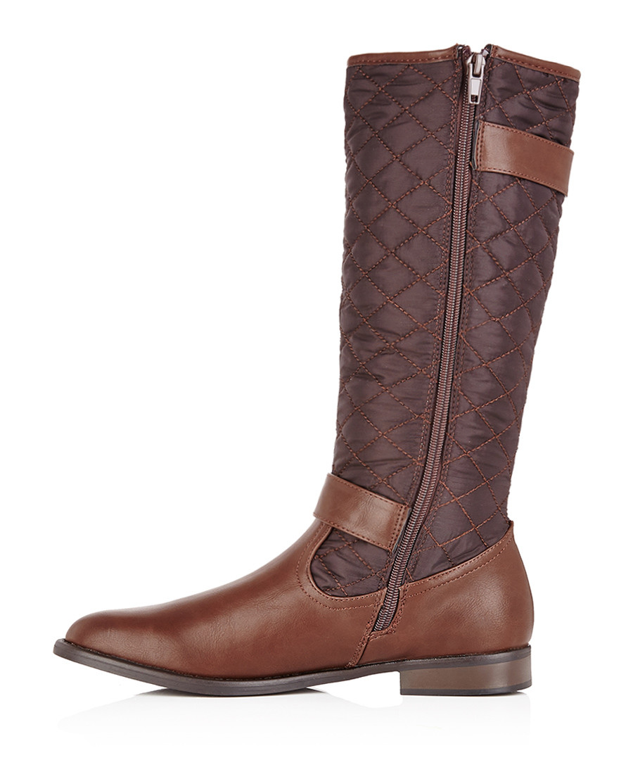 discount brown quilted knee high boots secretsales