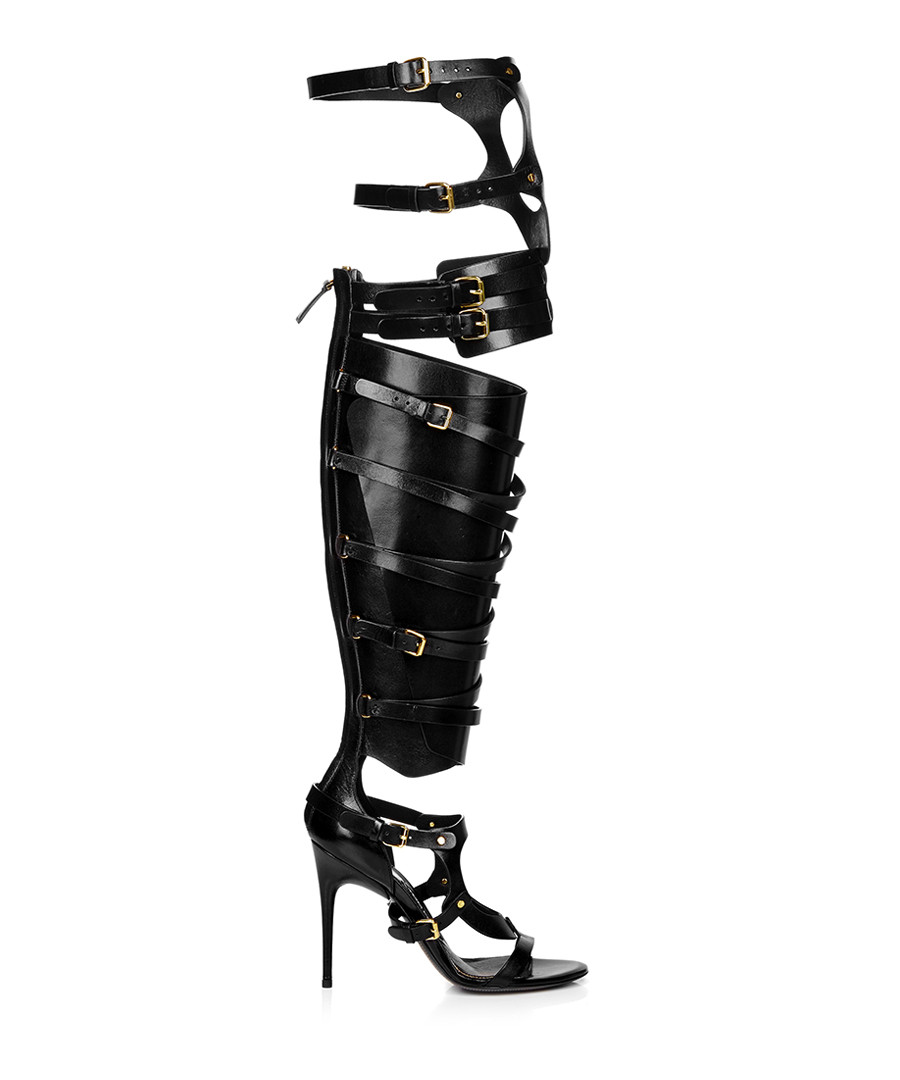 Black leather knee-high gladiator boots Sale - TOM FORD