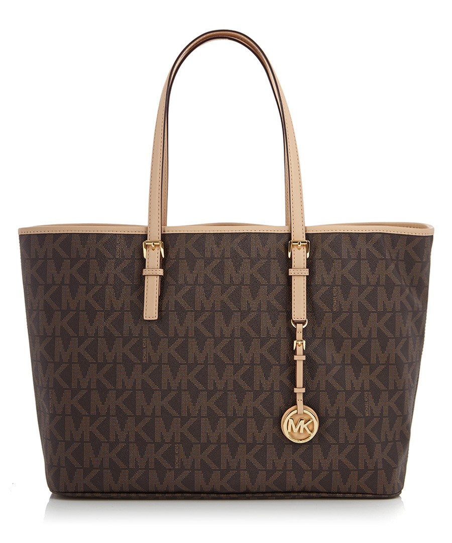 3a62dd4b66 Brown leather MK logo tote bag Sale - Michael Kors