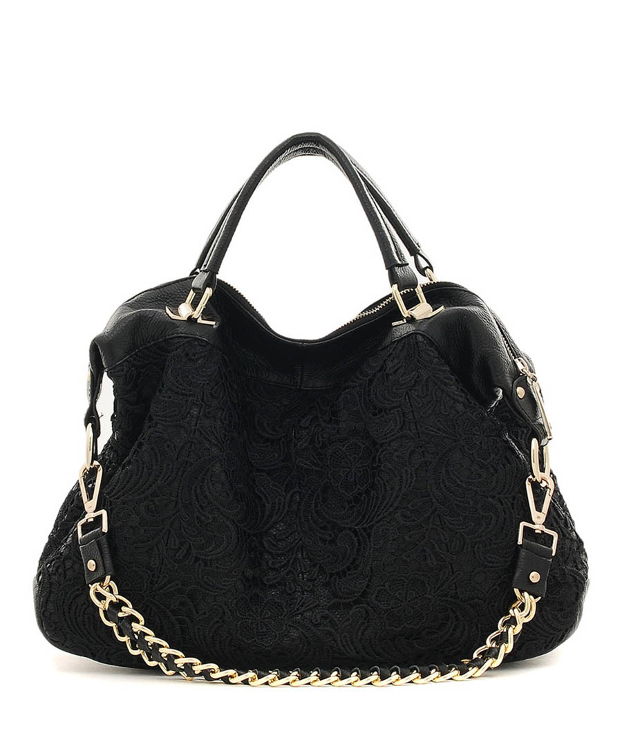 Black knitted lace leather slouch bag Sale - CANNCI