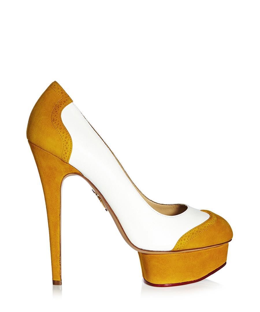 charlotte olympia spectator white mustard leather heels designer footwear sale charlotte. Black Bedroom Furniture Sets. Home Design Ideas