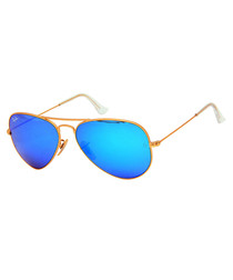 Aviator blue mirror sunglasses