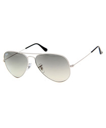 Aviator silver-tone & grey sunglasses