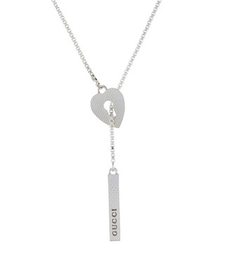46b011b1524 Gucci. Women s silver textured heart necklace