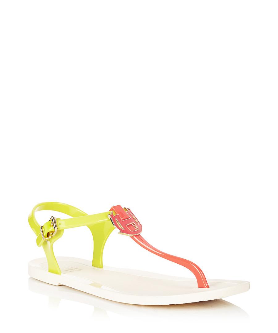 Highcliffe neon yellow T-bar sandals Sale - Hunter