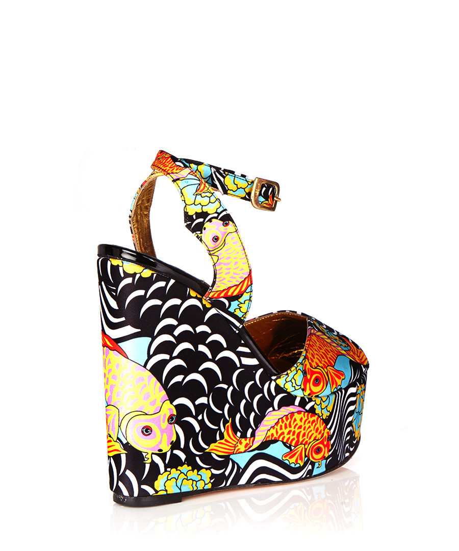 Discount Koi Satin Printed Wedges Secretsales