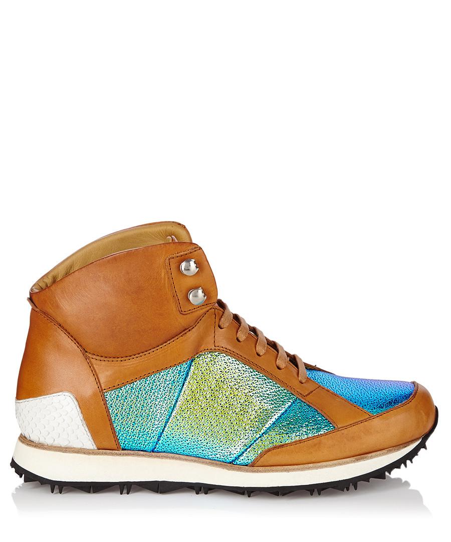 Vonnegut tan & blue leather high-tops Sale - MR. HARE