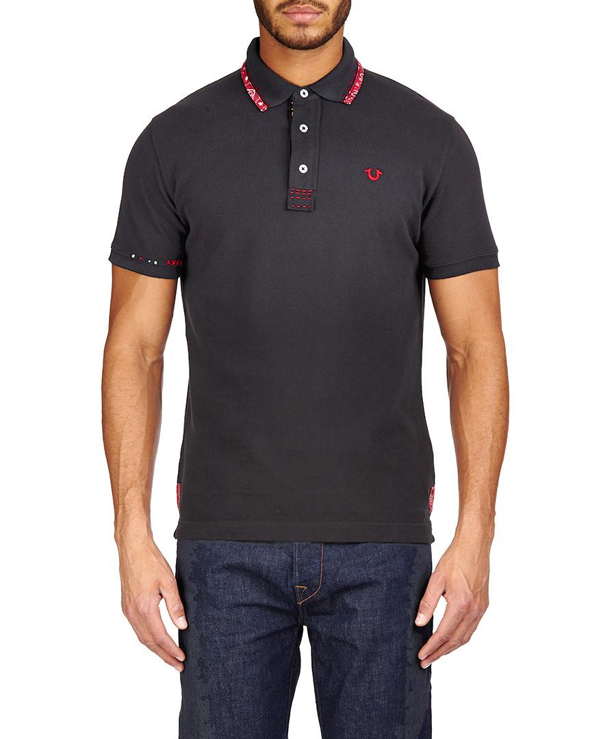 Discount black pure cotton beaded polo shirt secretsales for Black cotton polo shirt