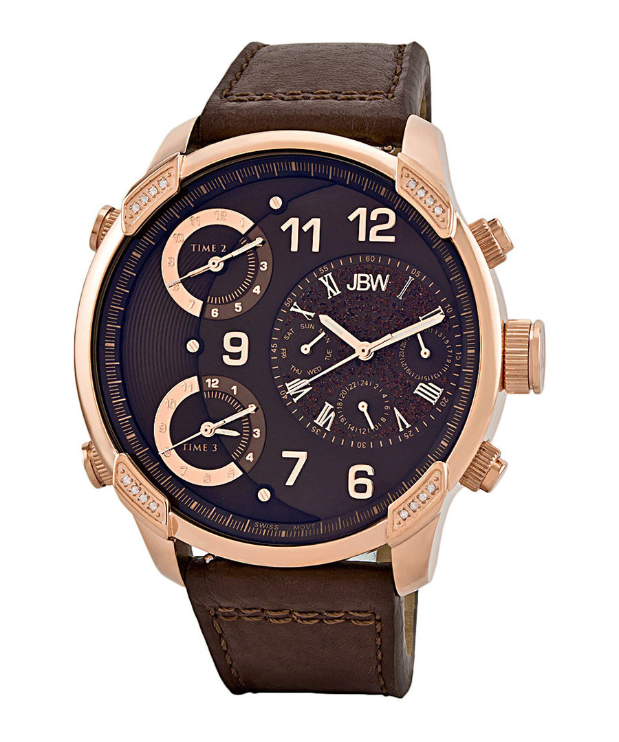 G4 18k rose gold-plated & brown watch Sale - jbw