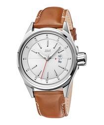 Rook tan leather & steel watch
