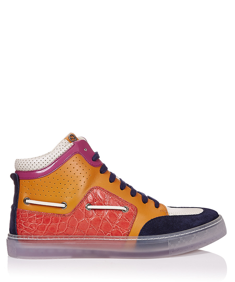 Men's orange leather high-top sneakers Sale - gucci