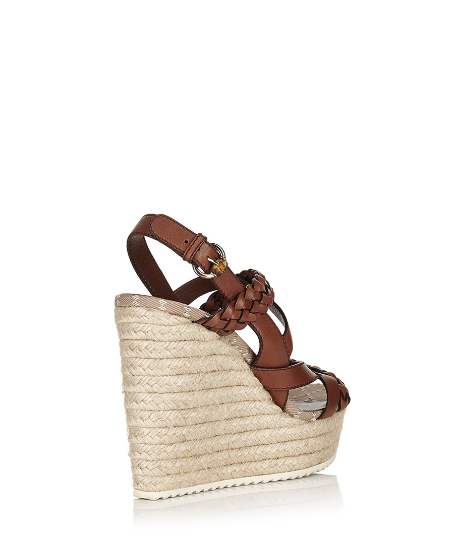 b931542614d ... Women s braided leather platform wedges Sale - Gucci ...