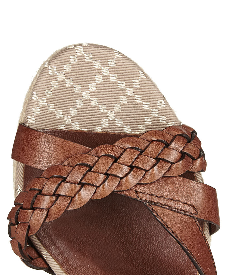 79ce5f2c3df ... Women s braided leather platform wedges Sale - Gucci