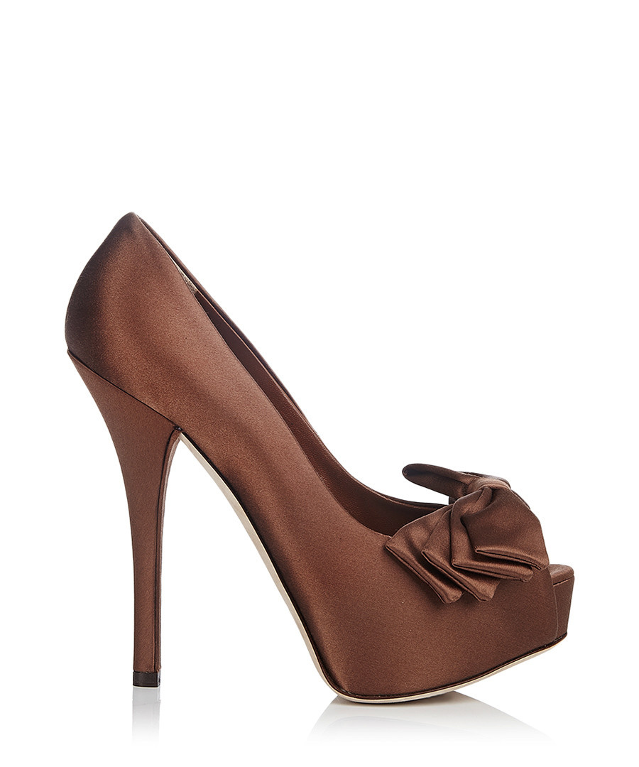 Women's brown satin peep-toe heels Sale - Dolce & Gabbana