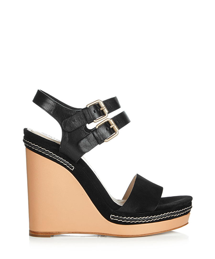 Discount Black leather ankle strap wedges | SECRETSALES