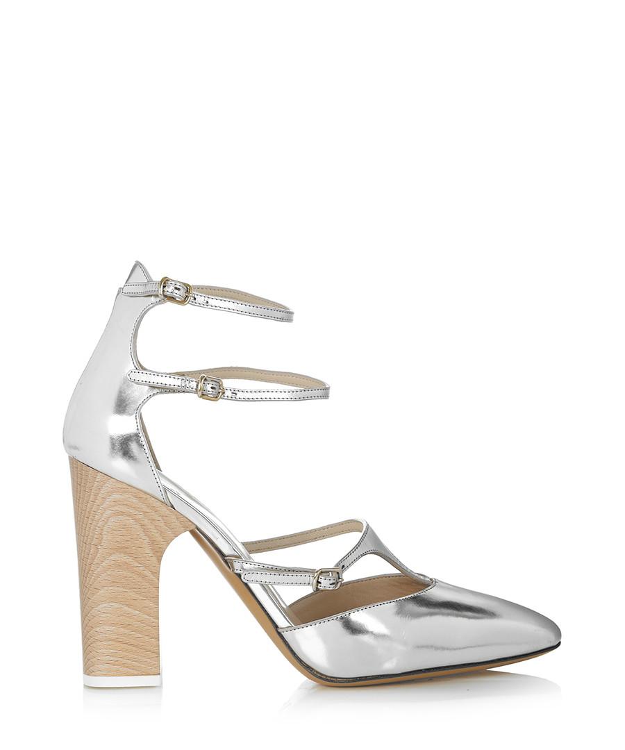 f268700bd30 Silver leather multi-strap block heels Sale - Chloe