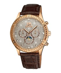 Sparkling brown leather & pavé watch