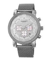Silver-tone diamond & mesh watch