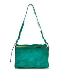 Green suede front-flap shoulder bag