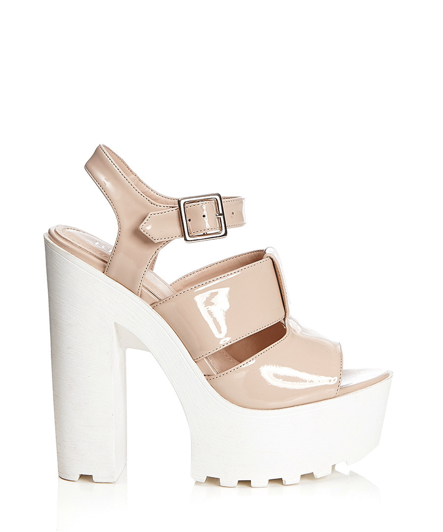 White and nude cleated sole platforms Sale - BEBO