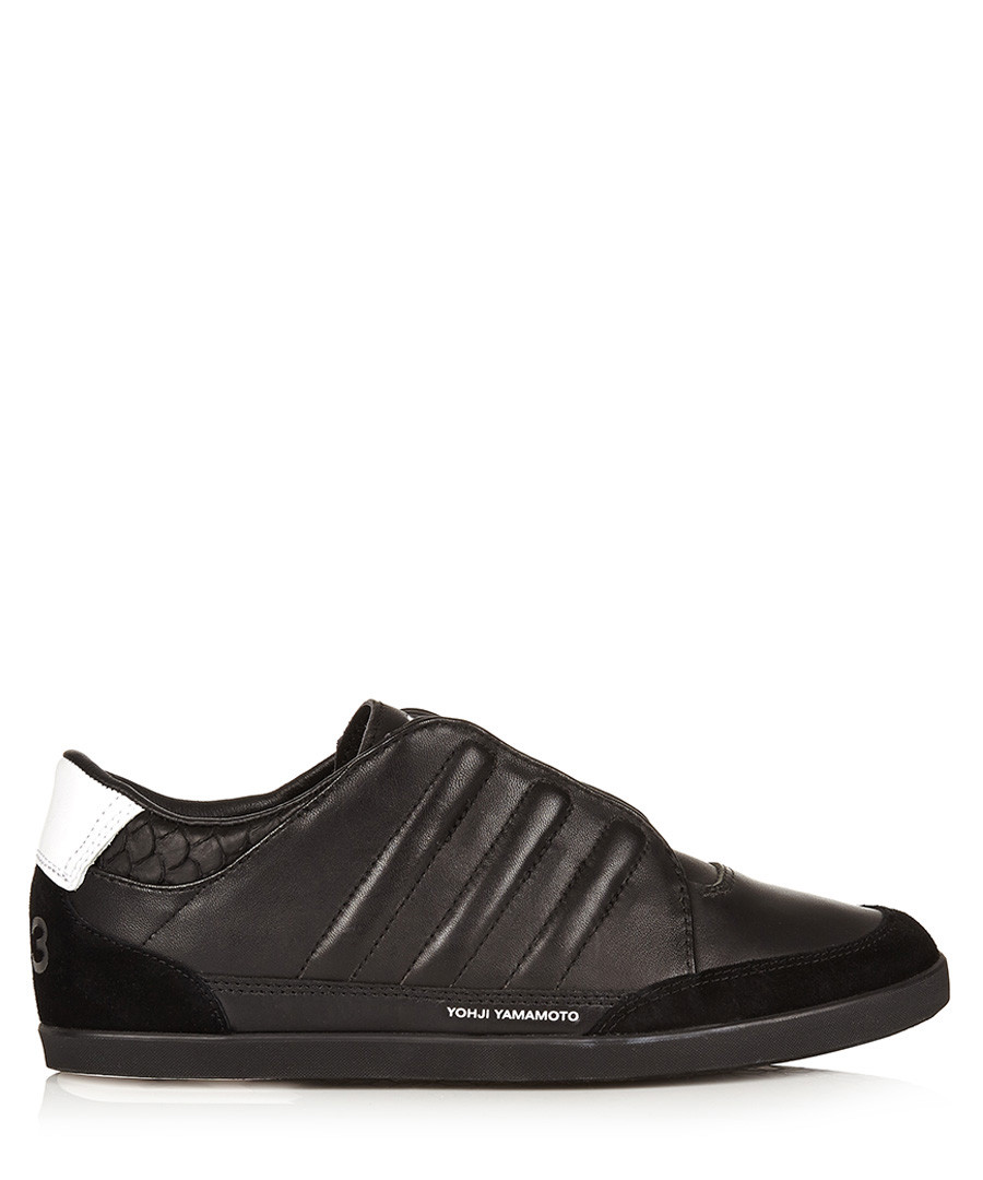 Black leather lace-up trainers  Sale - y-3