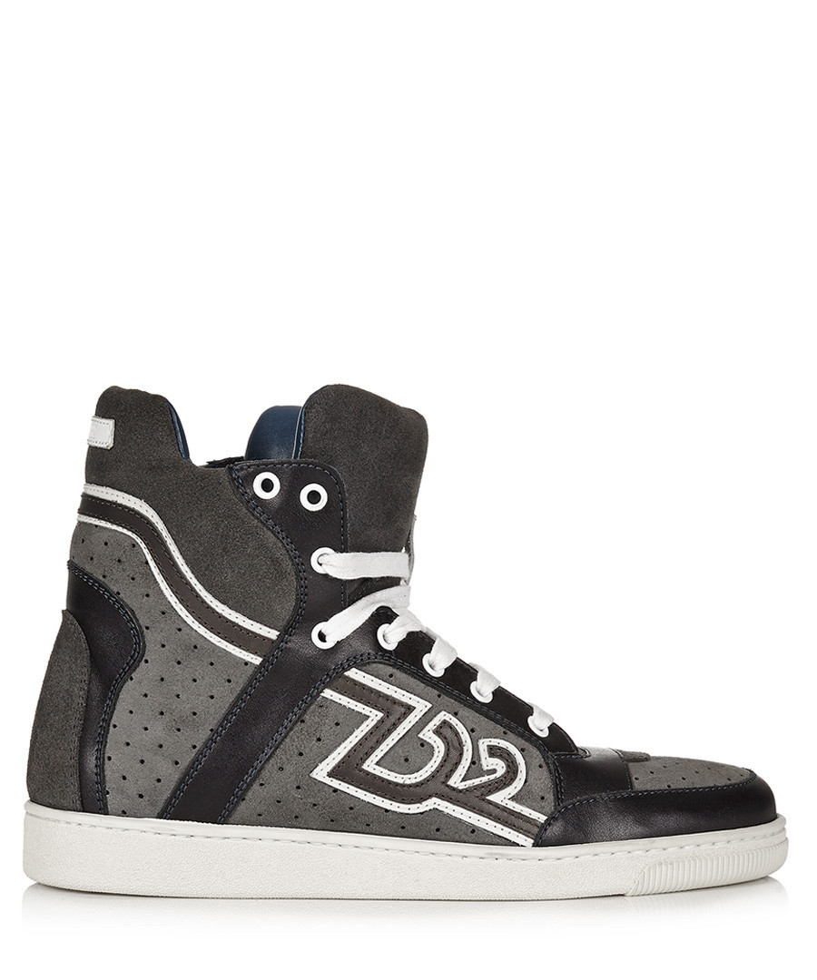 Men's grey & white high-top trainers Sale - dsquared