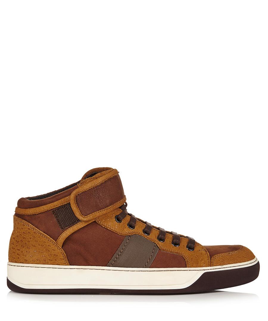 Brown leather hi-top sneakers Sale - lanvin