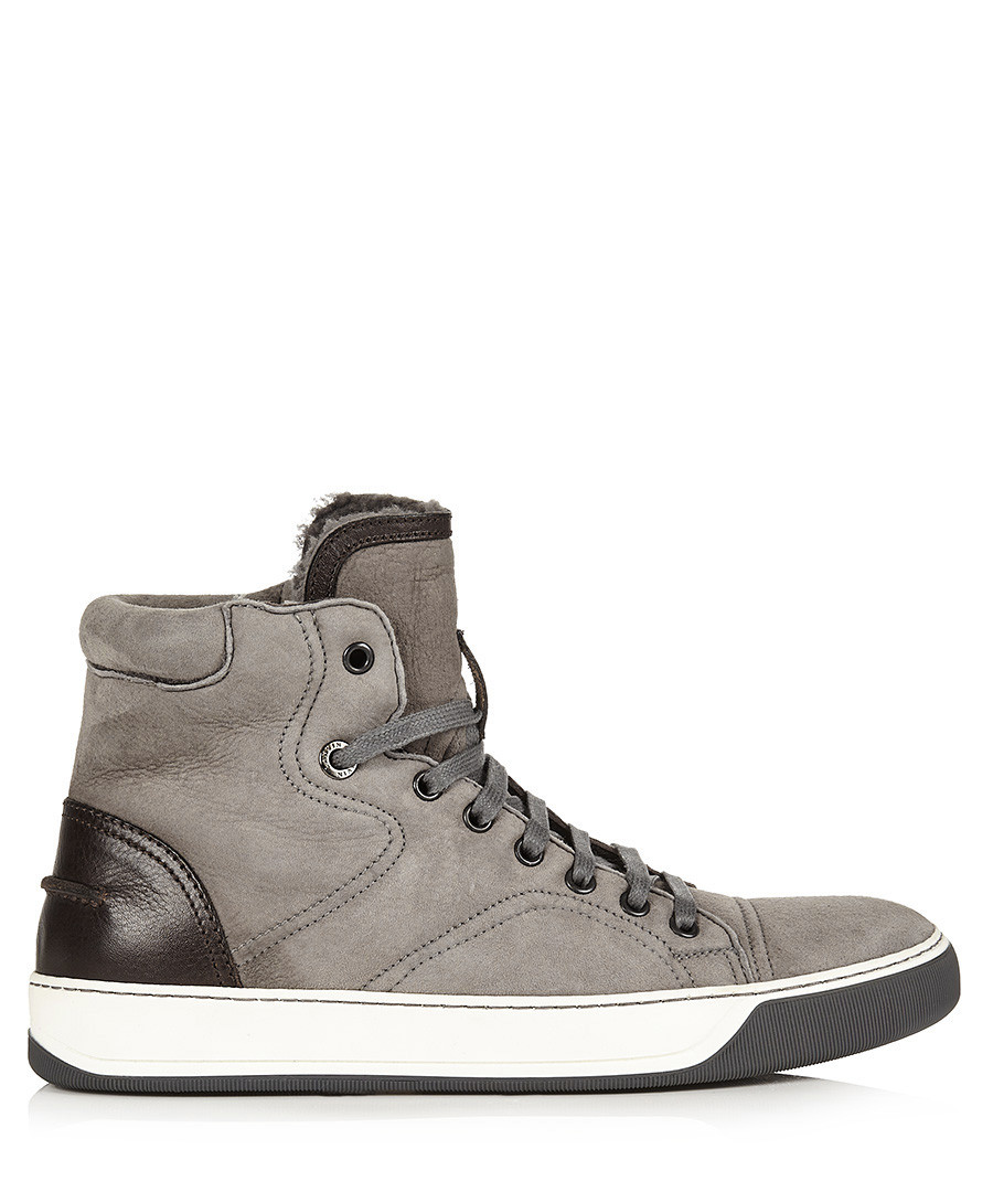 Grey suede hi-top sneakers Sale - lanvin