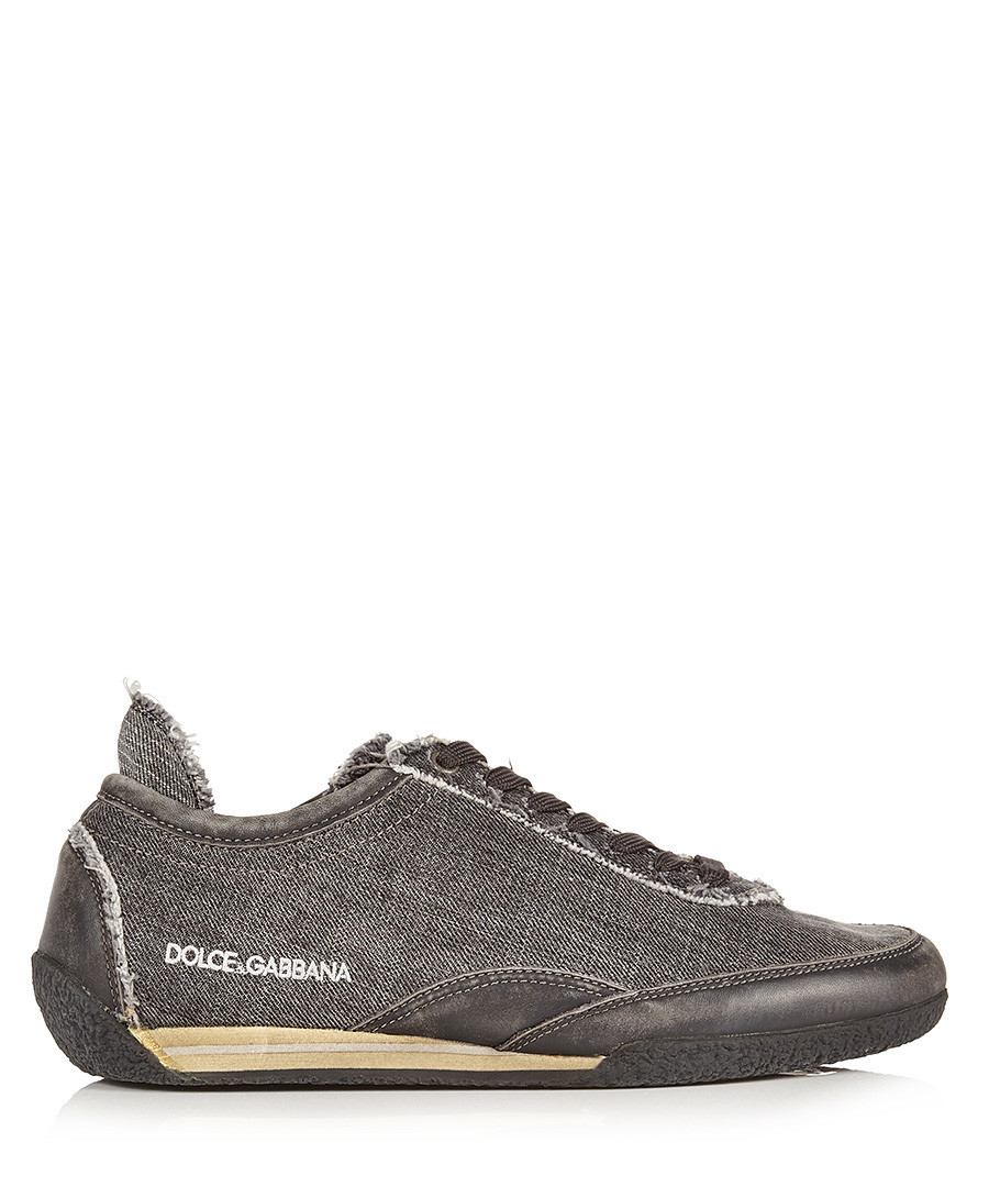 Grey leather lace-up trainers Sale - dolce & gabbana