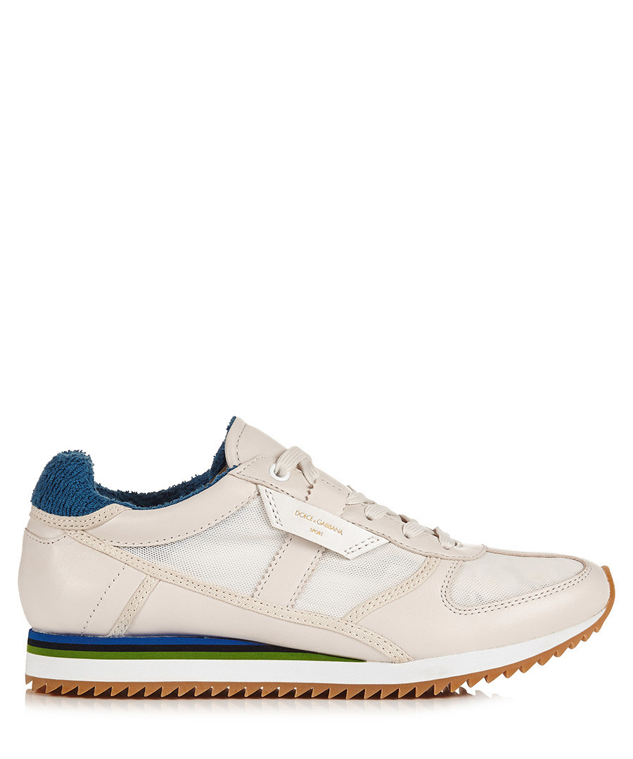 Men's white leather & striped trainers  Sale - dolce & gabbana