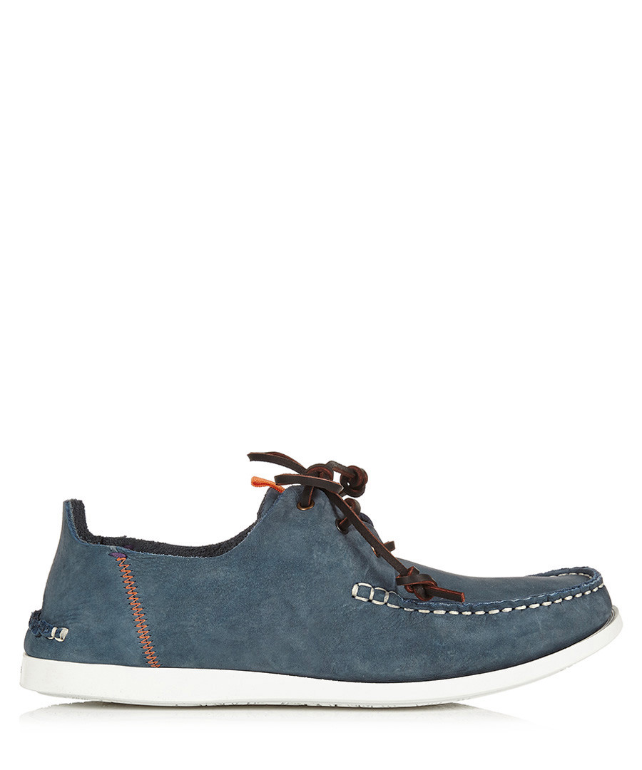 Blue & white suede boat shoes  Sale - PAUL SMITH