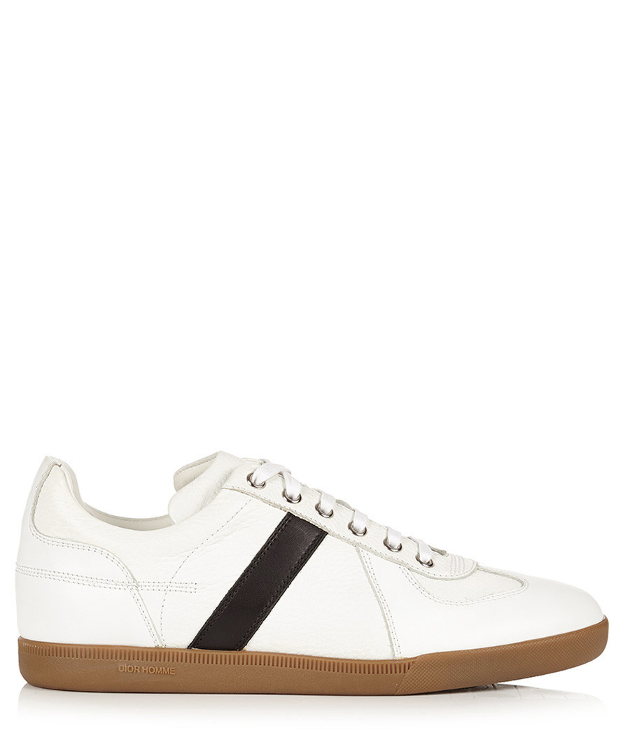 White & taupe leather lace-up trainers Sale - dior