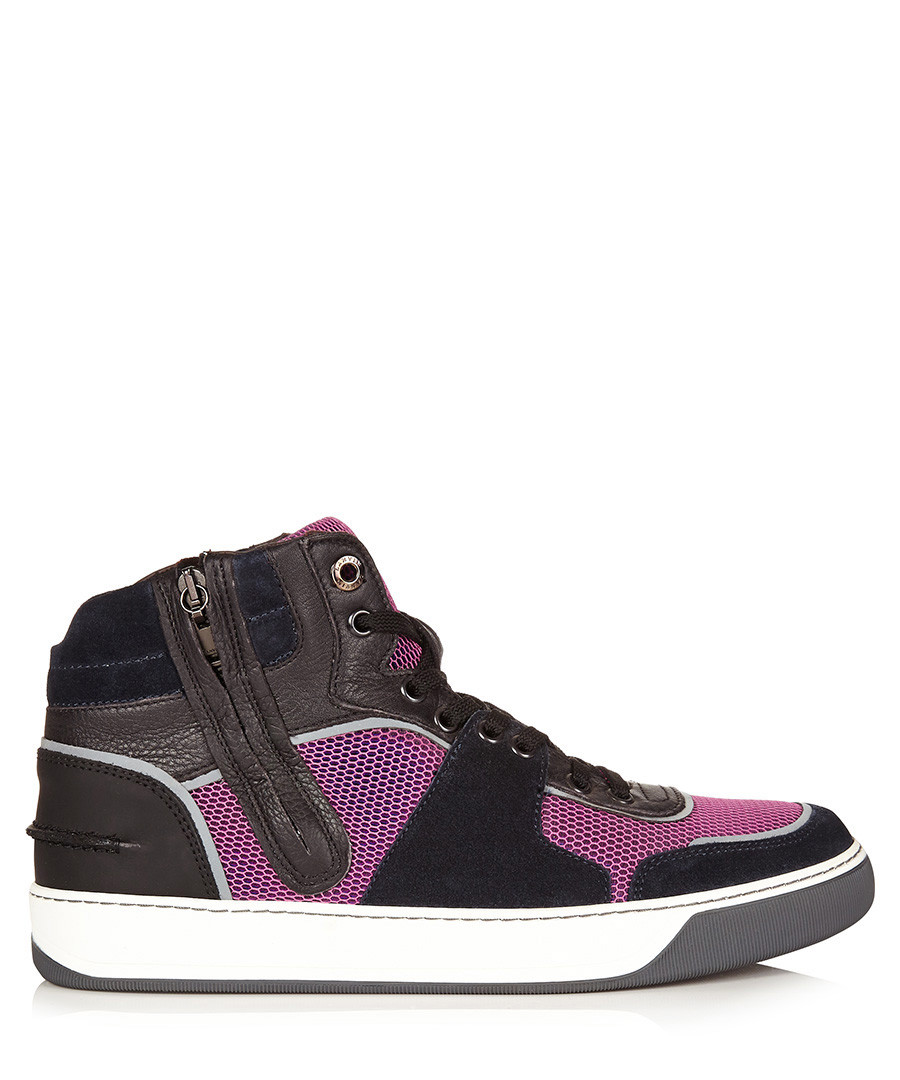 Navy & pink leather high-top trainers Sale - lanvin