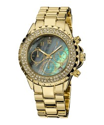 Gold-tone & mother-of-pearl dial watch