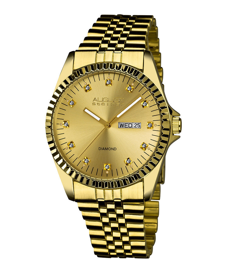 Gold-tone steel diamond marker watch Sale - august steiner