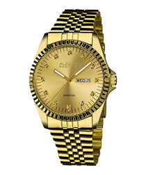 Gold-tone steel diamond marker watch