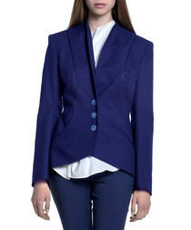 Blue cotton button-front blazer