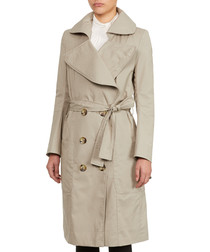 Beige cotton blend large collar trench