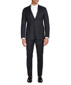 2pc charcoal pure wool pinstripe suit