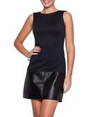 Black sleeveless leather effect dress