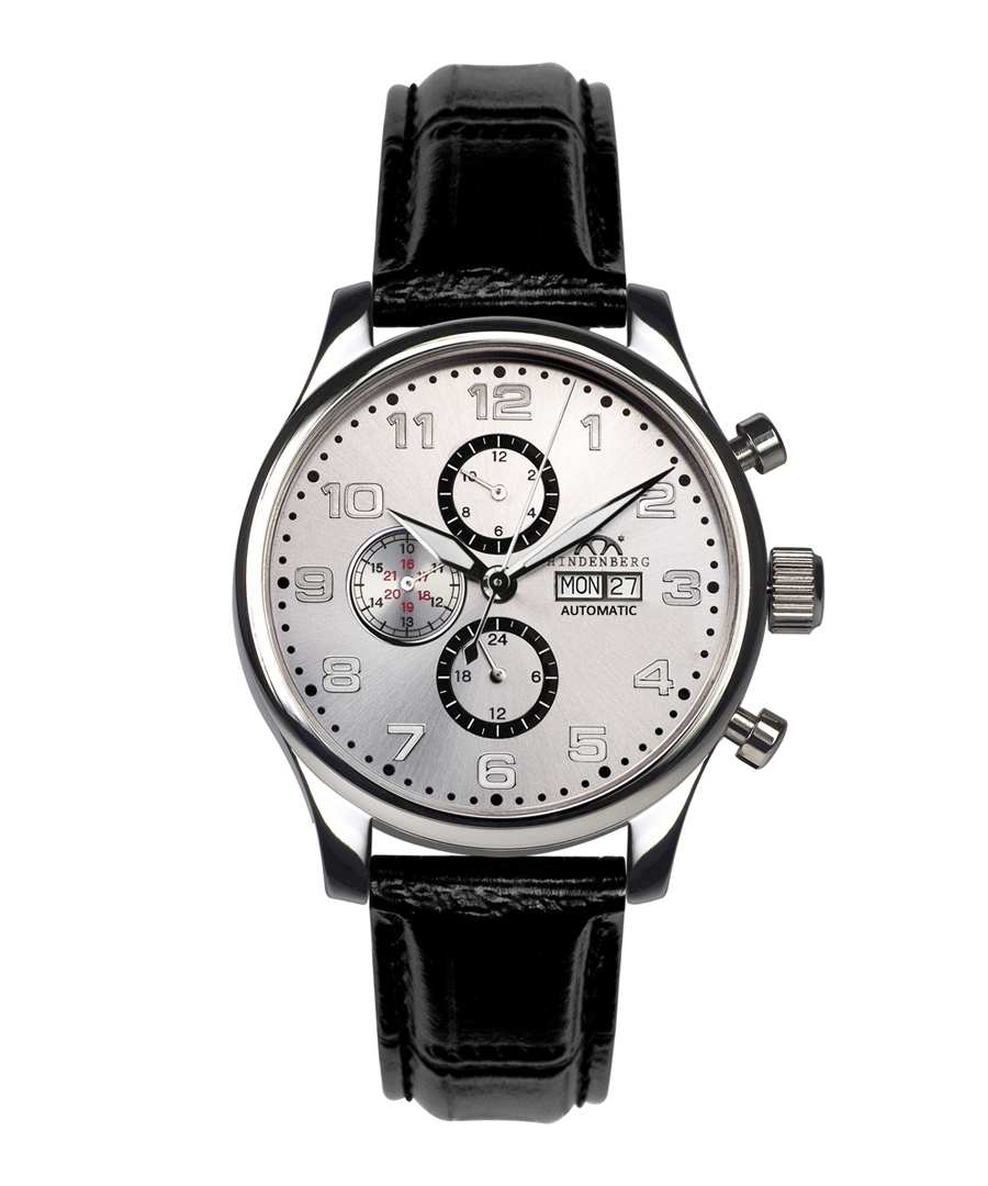 Excellence black leather watch Sale - hindenberg