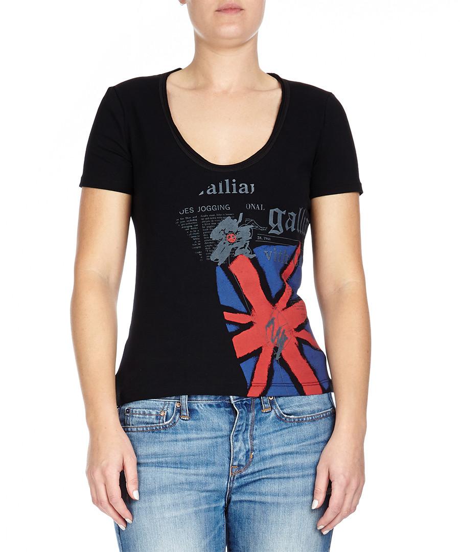 Galliano Black newspaper print cotton T-shirt , Designer ...