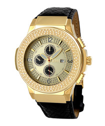 Saxon 18ct gold-plated & diamond watch
