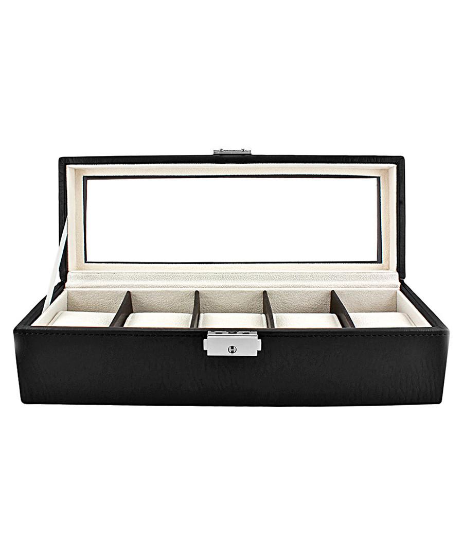 Black leather rectangular watch case Sale - JBW