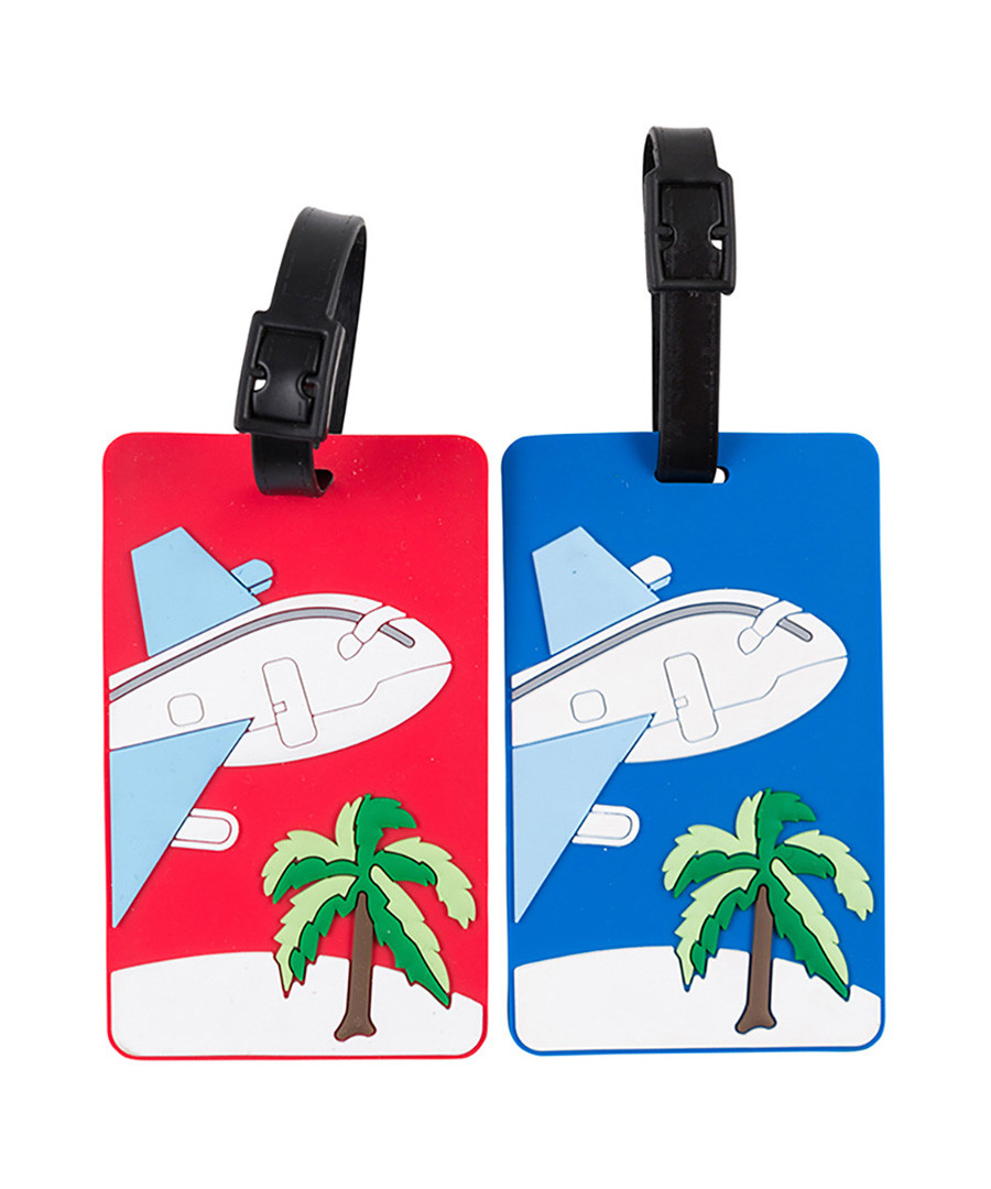 2pc red & blue palm tree luggage labels Sale - les bagagistes