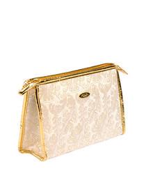 Sari ivory & gold cosmetics bag