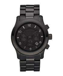 Runway black stainless steel watch