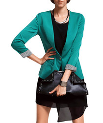 Teal cropped fitted blazer