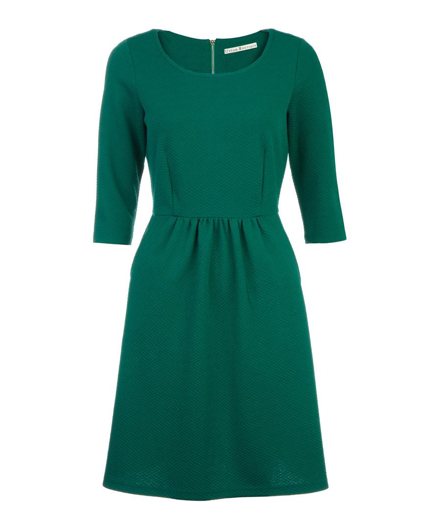 Green textured flare dress Sale - UTTAM BOUTIQUE