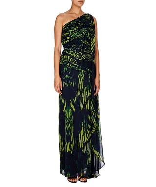4d6dd485112d Halston Heritage. Navy & green one shoulder maxi dress